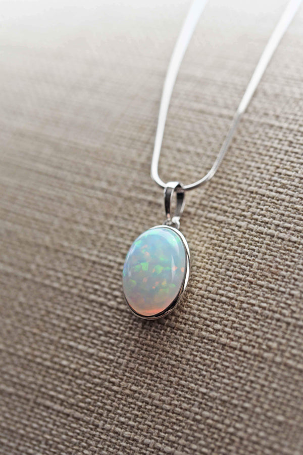Opal Necklace Silver