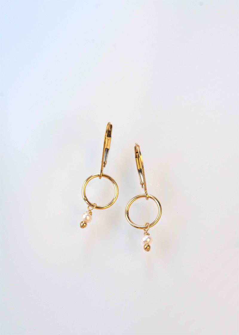 Delicate dangle gold pearl earrings gift for girls