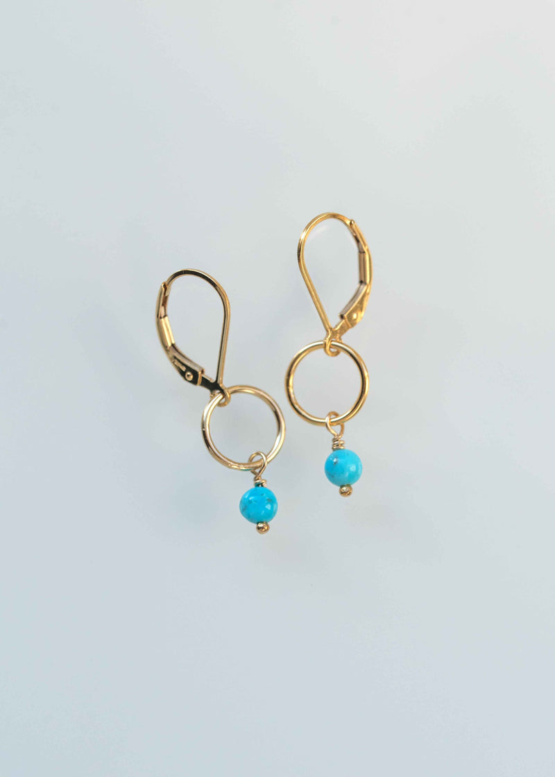 delicate turquoise drop earrings everyday dainty gold  gifts for girls
