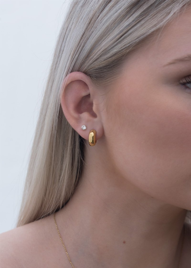 Dome Hoops, gold hoop earrings, 18k gold hoops, small hoop earrings, chunky hoops