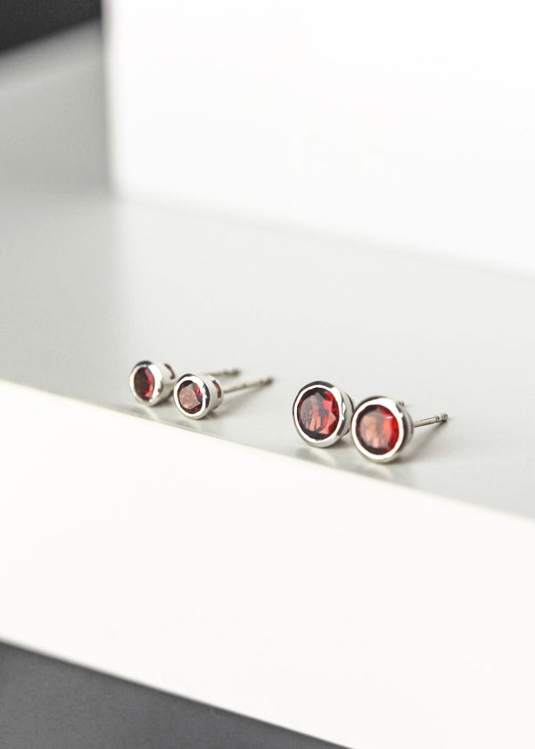 Garnet Bezel Stud Earrings