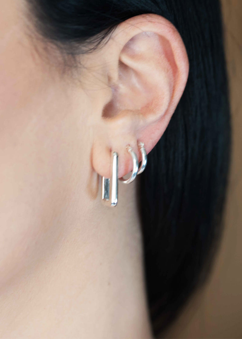 Geometric Rectangle Huggie Hoops Earrings Sterling Silver