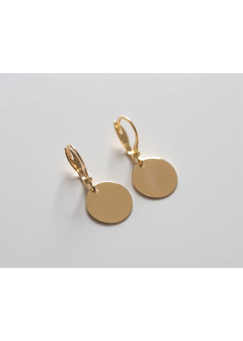 gold disc earrings medium, simple gold earrings