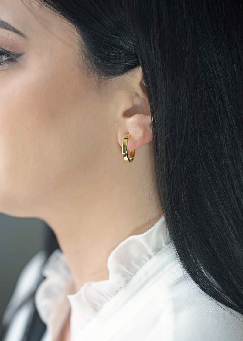 medium gold hoop earrings for women modern edgy chunky hoops