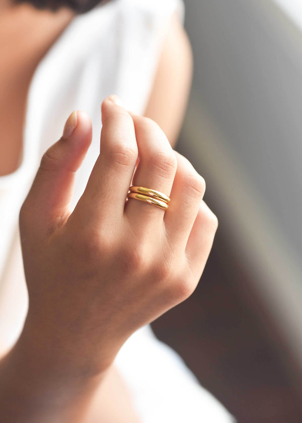 Gold stacking ring, thin stacking ring, skinny band, gold band