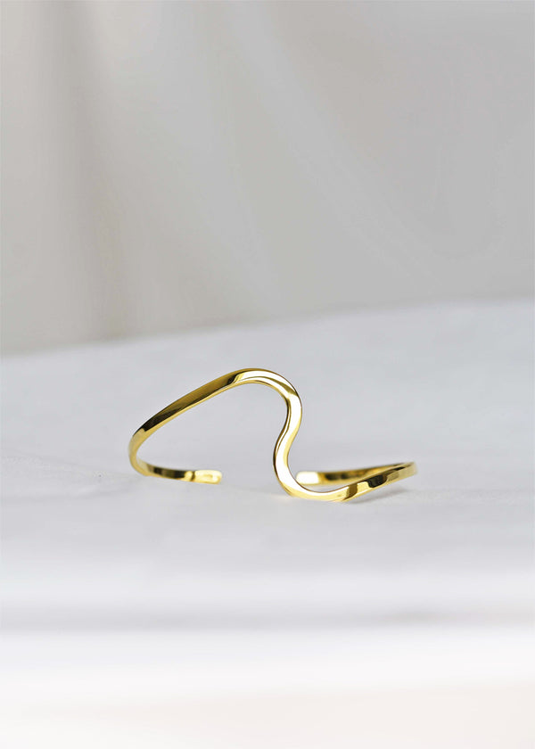 gold statement curve bracelet cuff