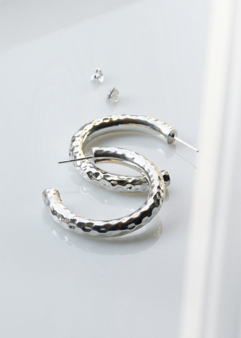 Hammered Hoops in Sterling Silver