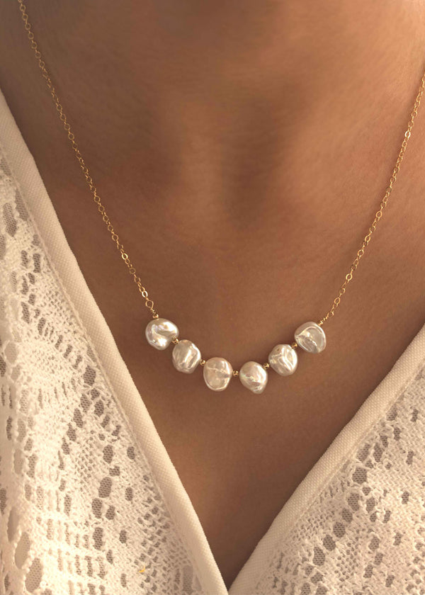 Keshi Pearl Bar Necklace Layering Bridal wedding jewelry