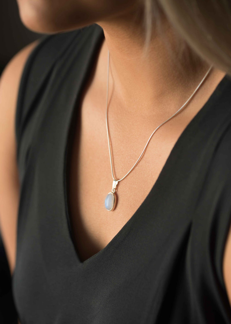 Large Moonstone Necklace in Sterling Silver