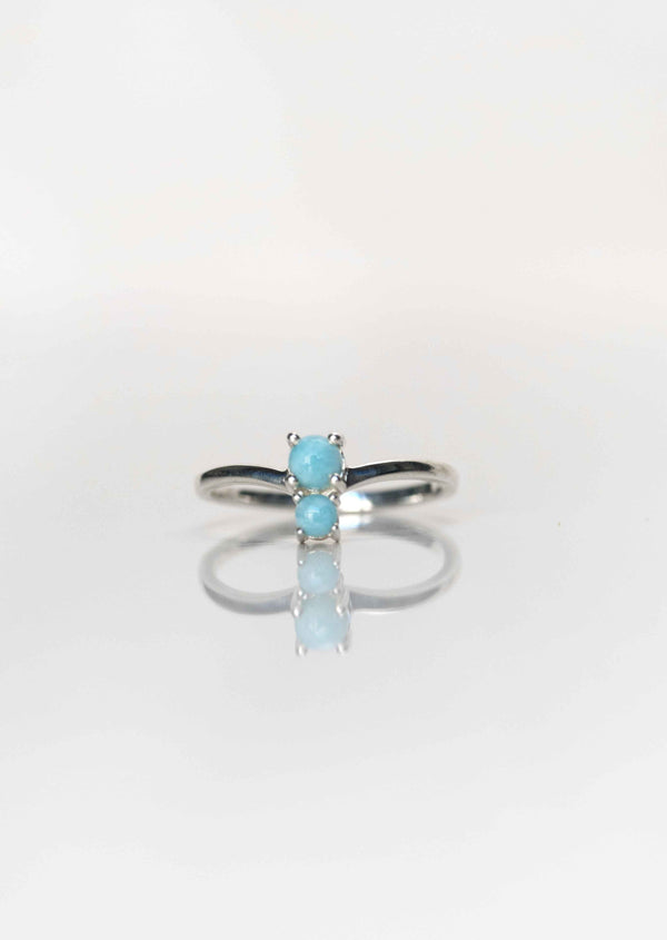 genuine larimar ring, gemstone ring, blue stone ring