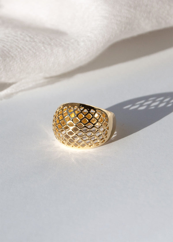 Lattice Dome Ring Gold, Modern Geometric Statement Unique Ring
