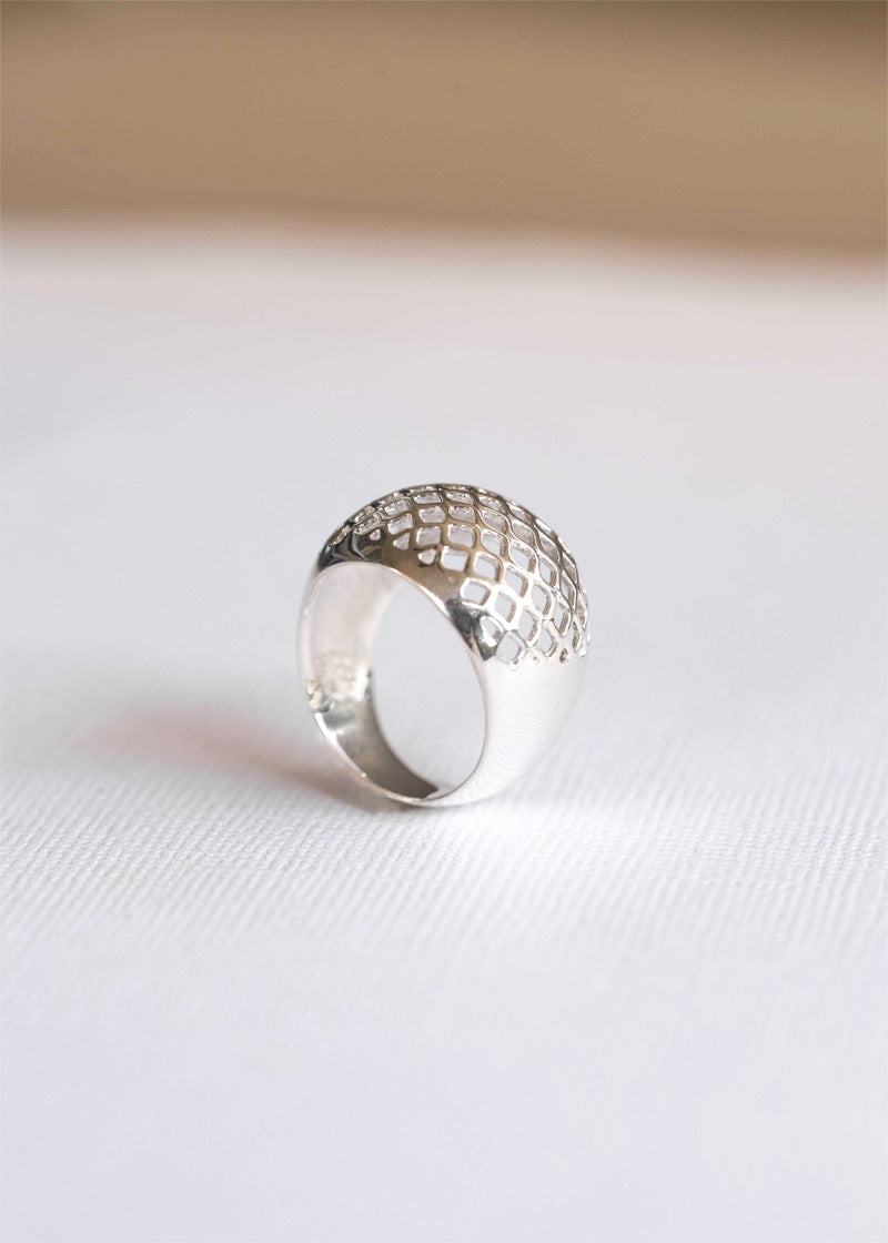Lattice Dome Ring in 925 Sterling Silver, Modern Geometric Statement Unique Ring