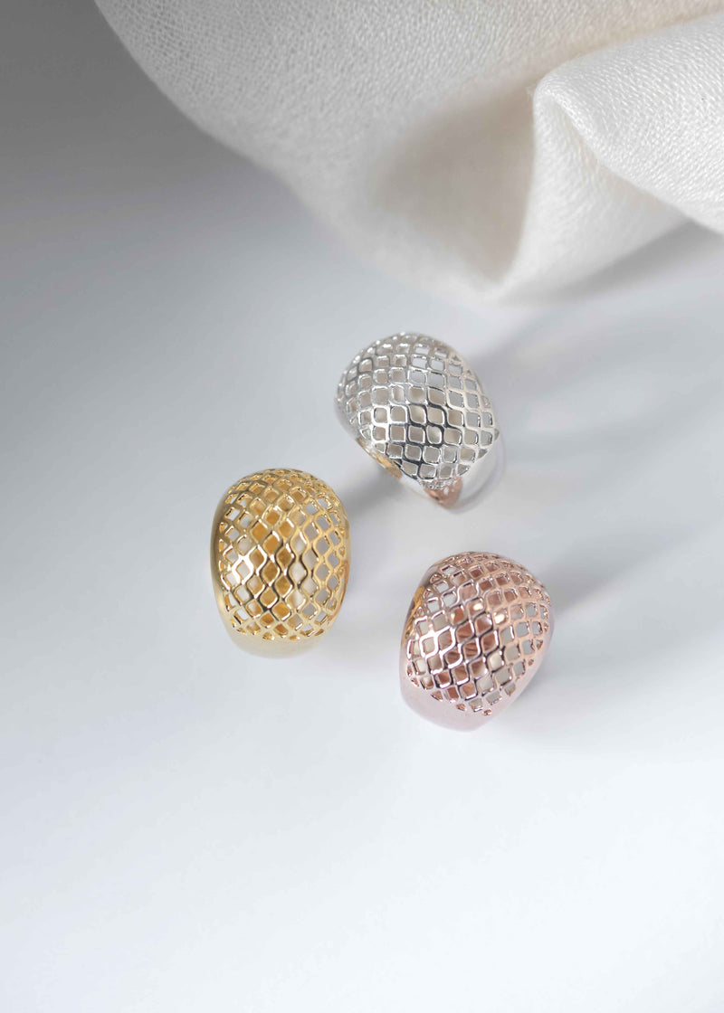 lattice dome ring in silver gold and rose gold
