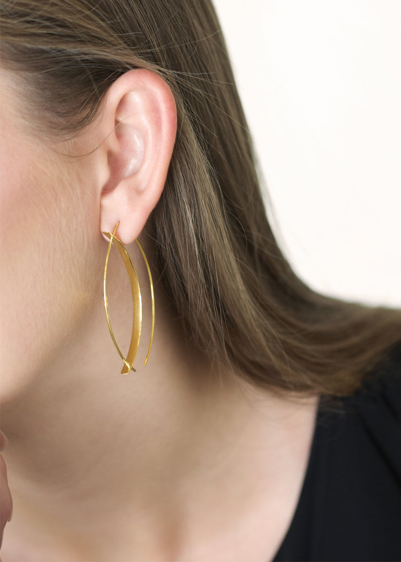 Marquise Wire Hoops Earrings - Gold Vermeil