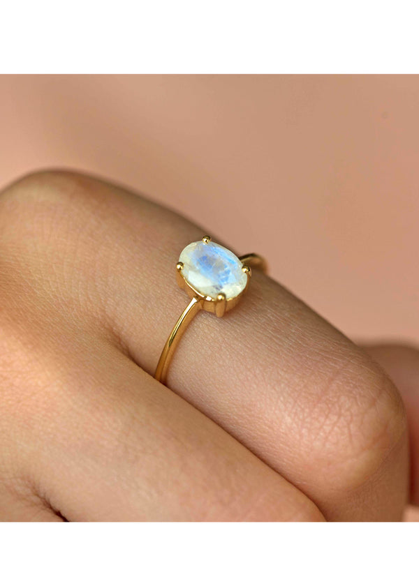 Genuine Natural Moonstone Ring Gold Plated June Birthstone
