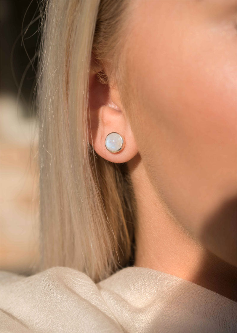 Blue Flash Moonstone Studs in Sterling Silver