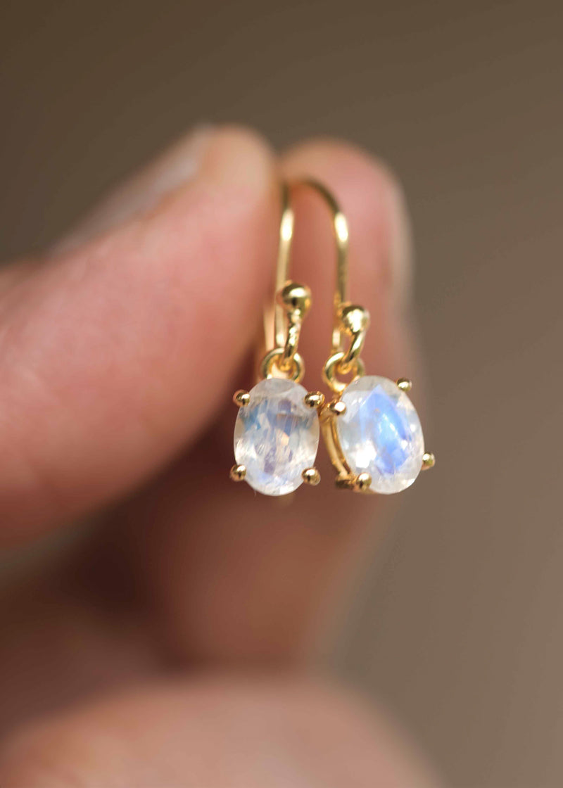 moonstone dangle earrings in gold Mother's day gift for mom