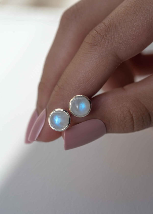 Moonstone Stud Earrings in Sterling Silver