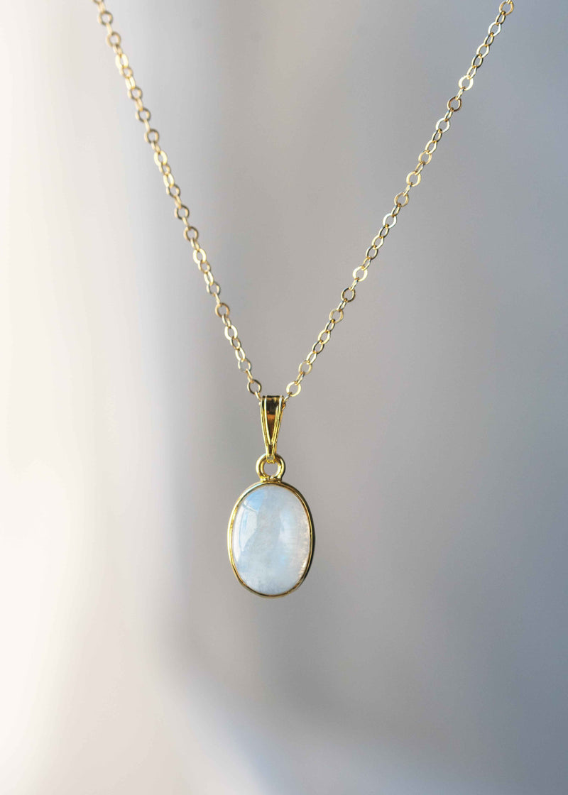 gold moonstone necklace large gemstone june birthstone birthday gift rainbow moonstone