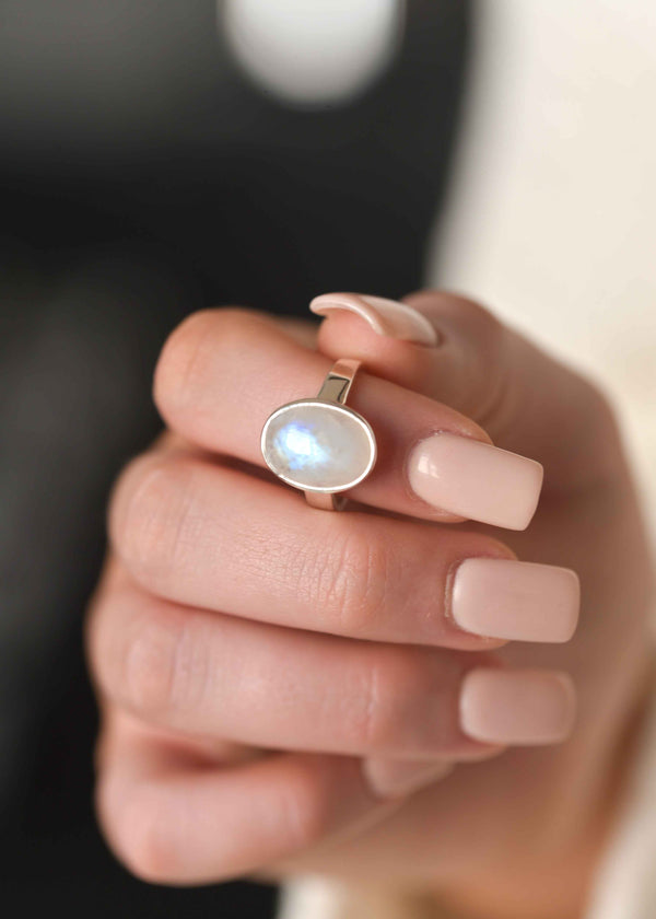 Large Moonstone Ring in Sterling Silver, Genuine Natural Moonstone Ring