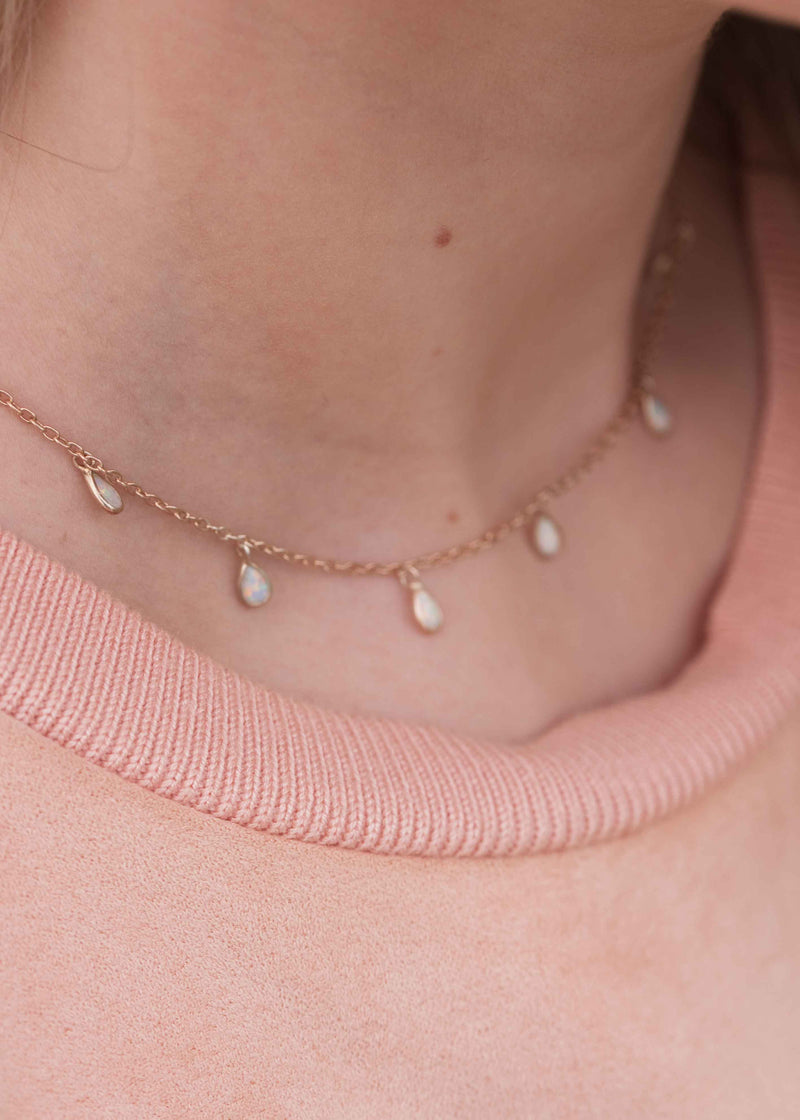 Delicate Gold Choker, opal necklace, opal drops necklace rose gold
