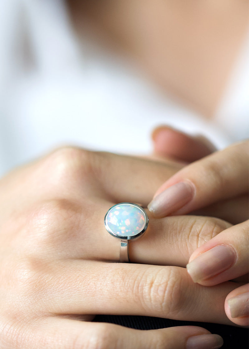 opal ring sterling silver, sterling silver opal ring, large opal ring