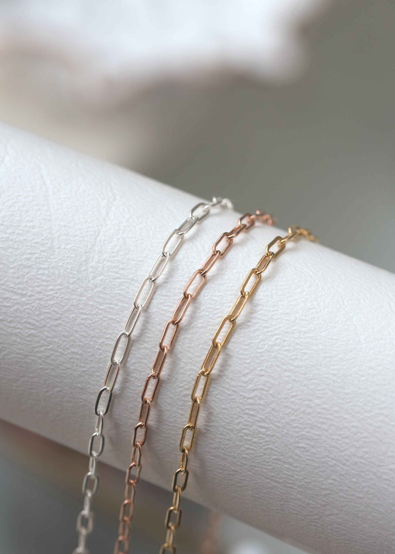 paperclip chain minimal bracelet gold silver rose gold