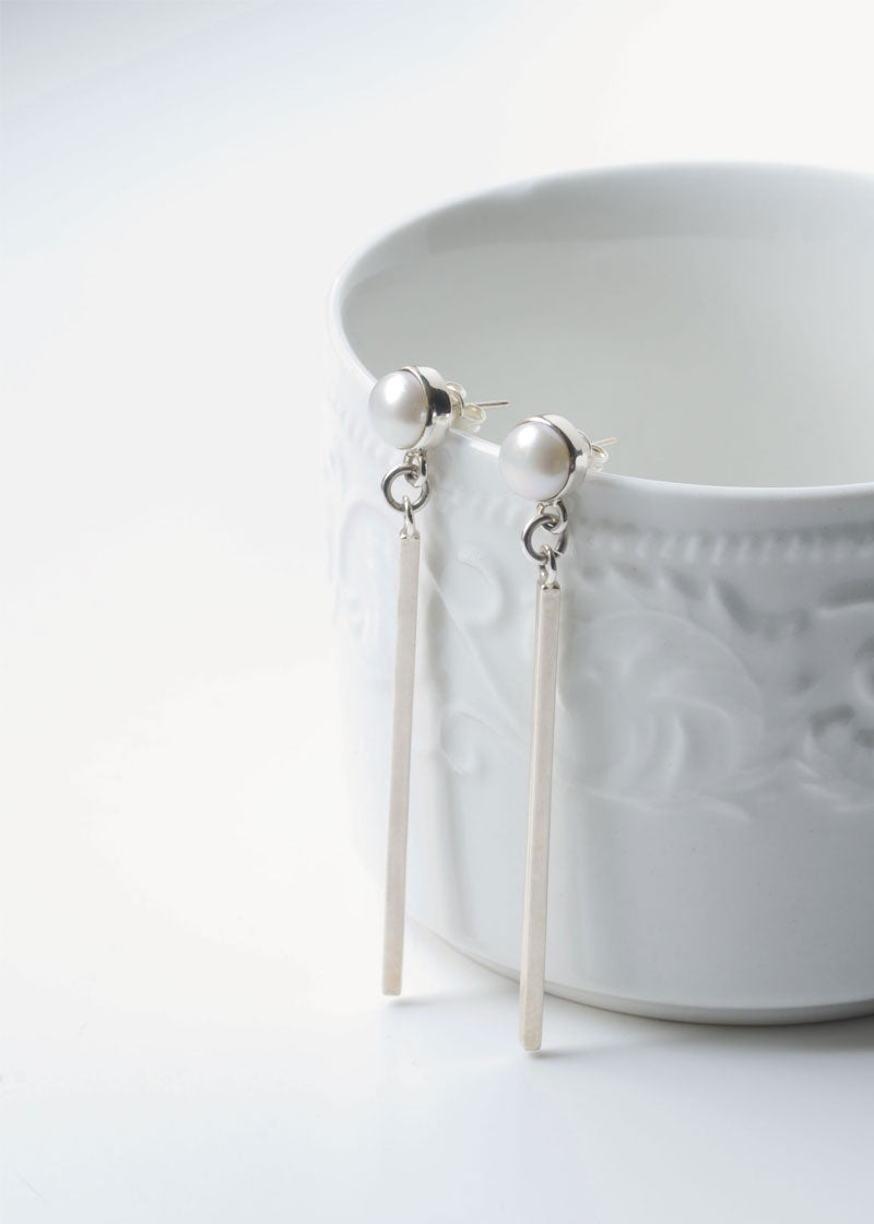 Pearl and Line Earrings