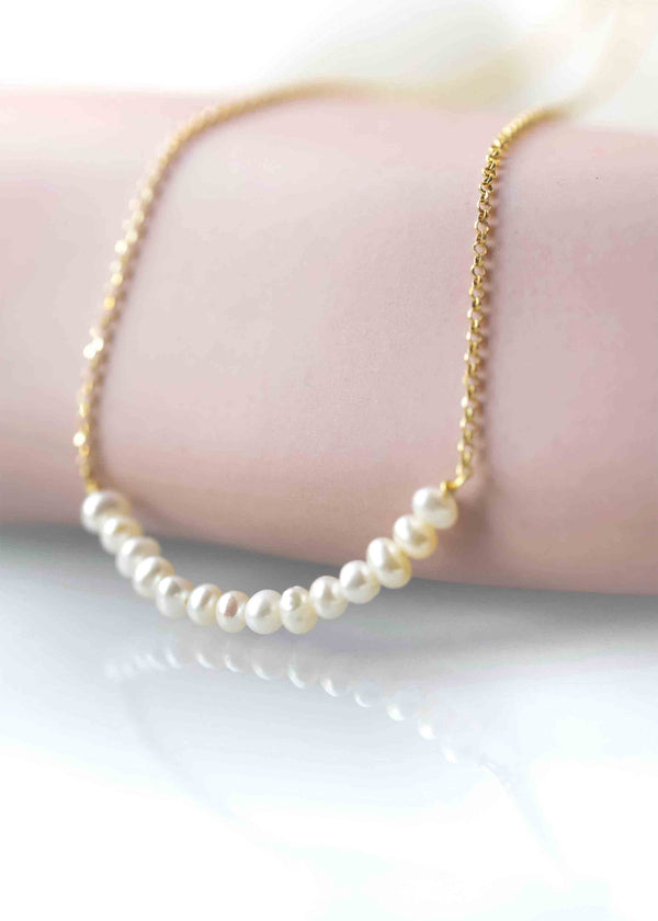 Pearl gold Necklace, bridal necklace