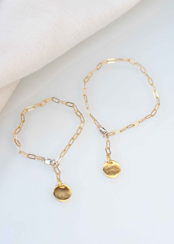 Mother Daughter Personalized Gold Disc Bracelet Set