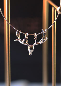 Reindeer antler pendant, deer antler necklace, christmas necklace, women's necklace, silver necklace