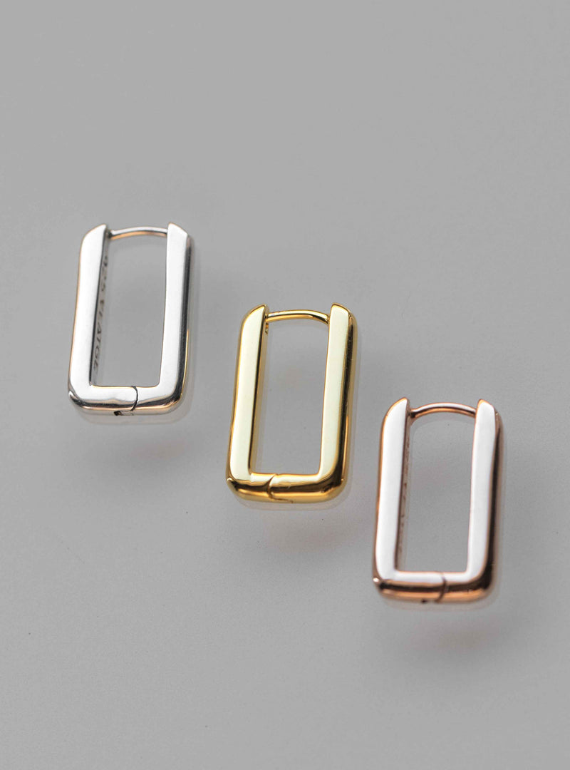 Rectangle Hoops Earrings Thick Bold Minimalist Geometric  Huggies Sterling Silver