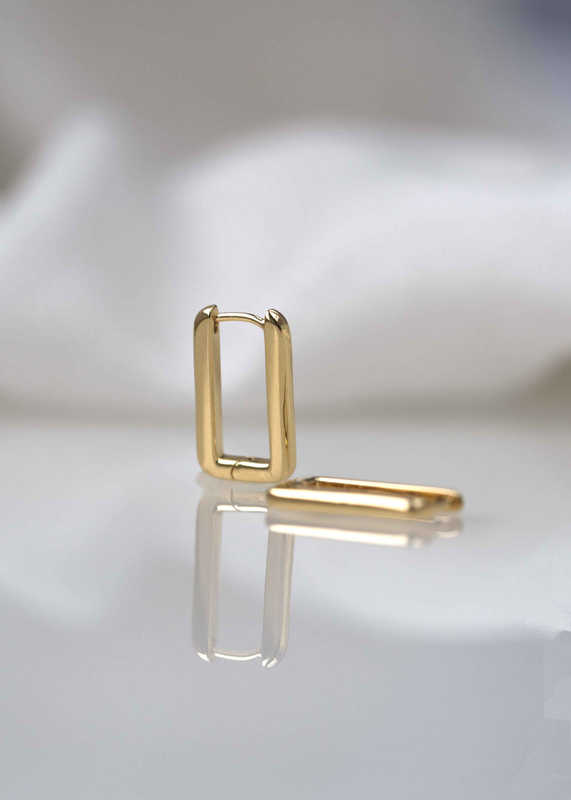 Rectangle Hoops Earrings Thick Bold Minimalist Geometric  Huggies Gold Plated
