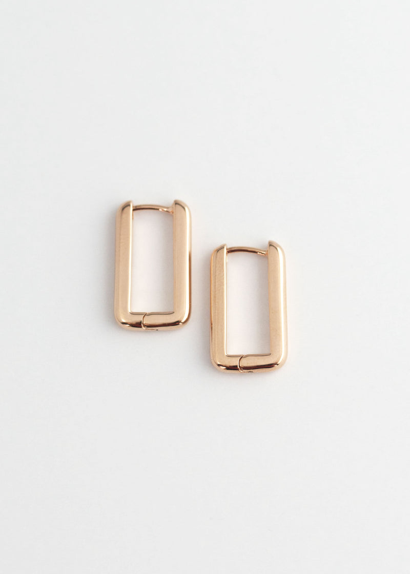 Rectangle Hoops Earrings Thick Bold Minimalist Geometric  Huggies