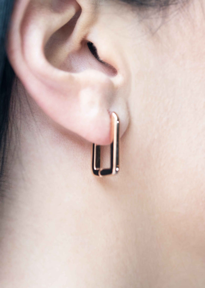 rose gold square hoops minimal geometric