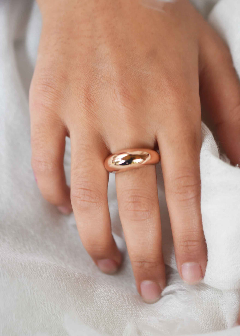 Rose Gold Dome Ring, Dome Ring Rose Gold