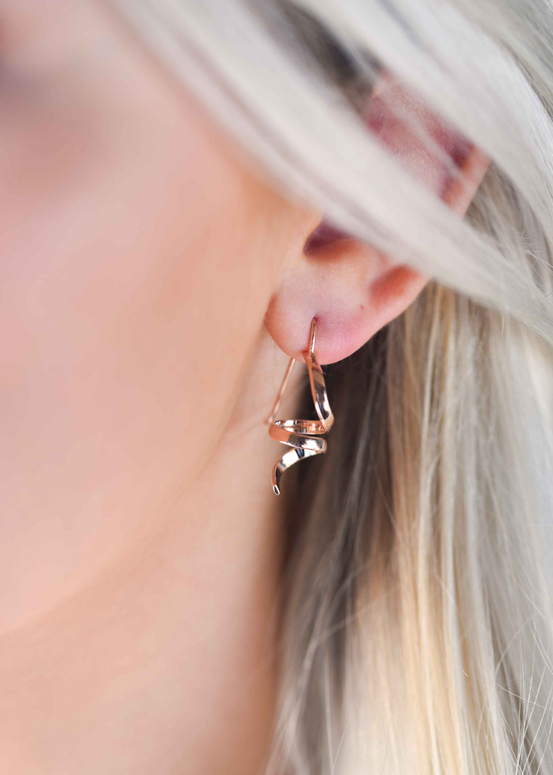 rose gold earrings, abstract earrings, rose gold spiral earrings