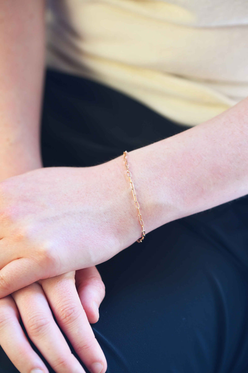 minimal rose gold stacking bracelet, rectangle link bracelet