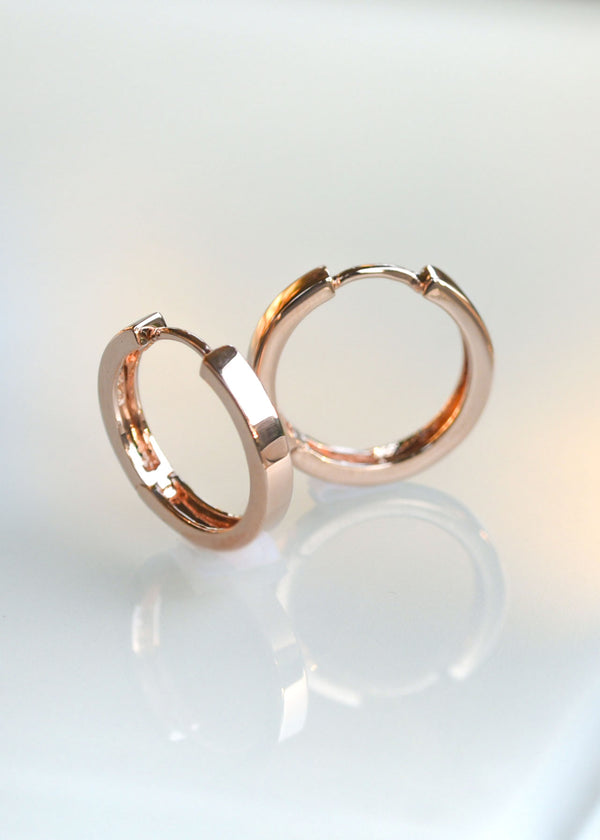Medium Flat Hoops - Rose Gold Vermeil