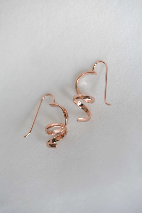 Small Abstract Earrings - Rose Gold, rose gold earrings, rose gold spiral earrings