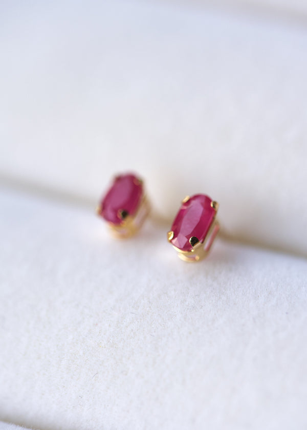 Ruby Stud Earrings - 10k Solid Gold