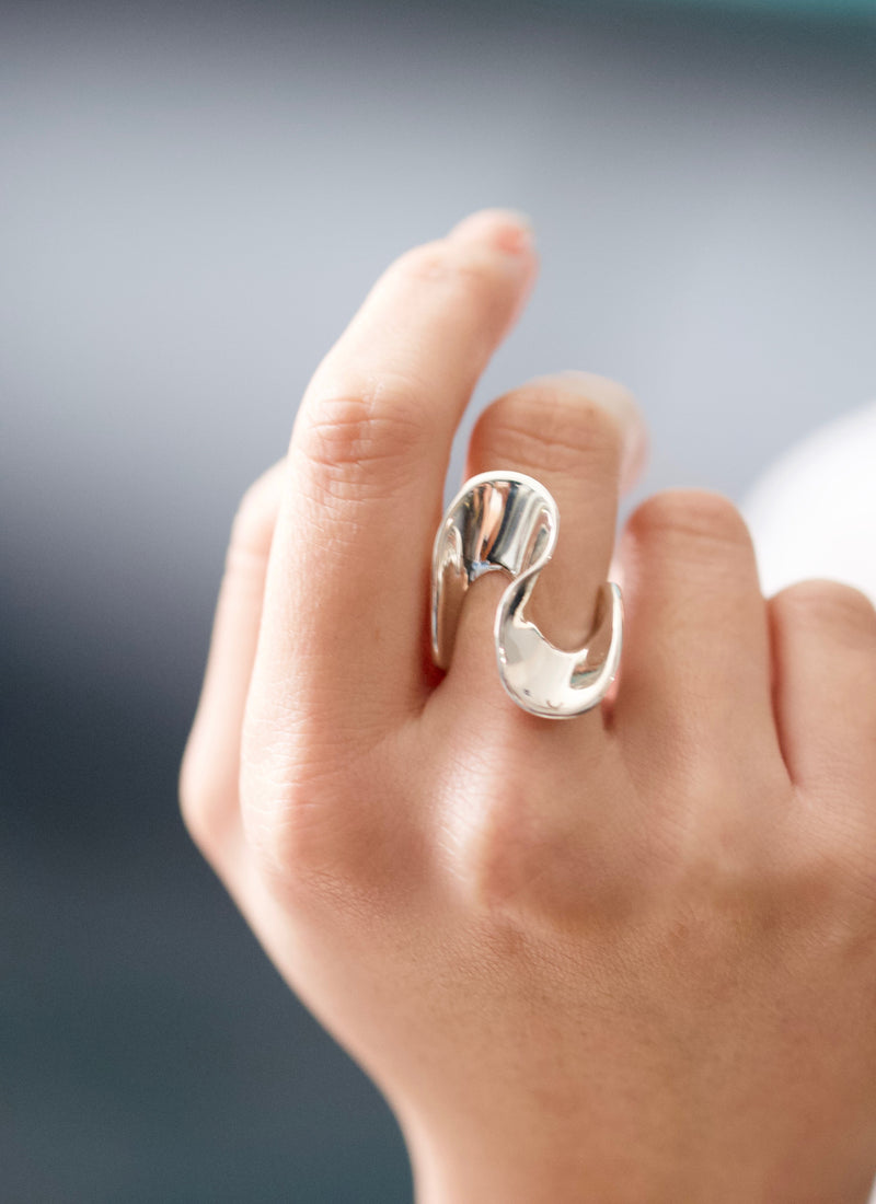 sterling silver statement curve ring