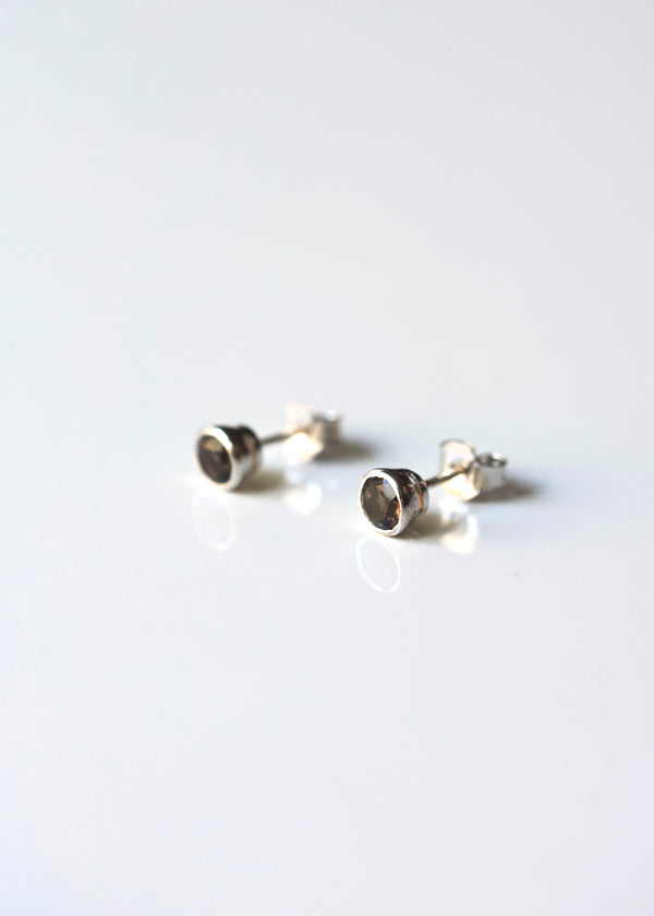 Smokey Quartz Stud Earrings Sterling Silver