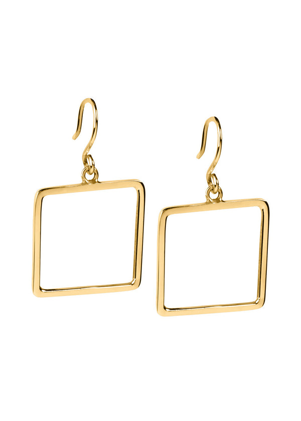 Square Hoops - Earrings - Gold