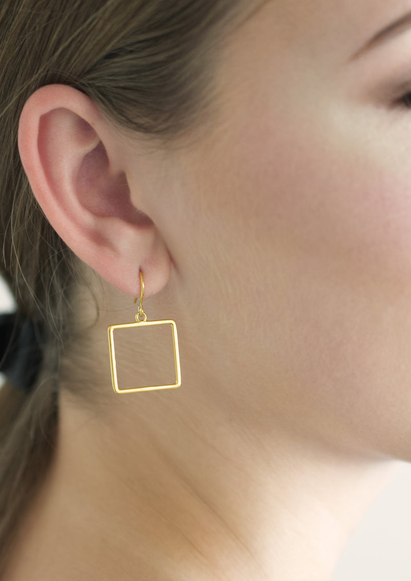 square hoops - gold vermeil