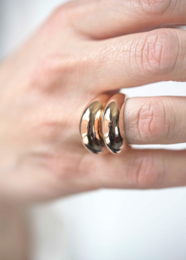 Stacked Rose Gold Dome Ring