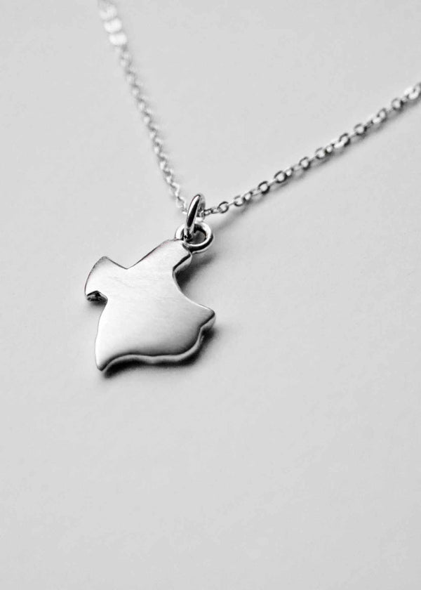 Texas Map Necklace Sterling Silver