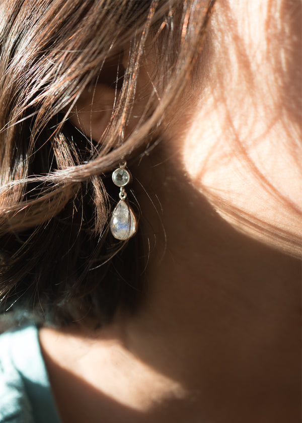 Moonstone Dangle Drop Earrings