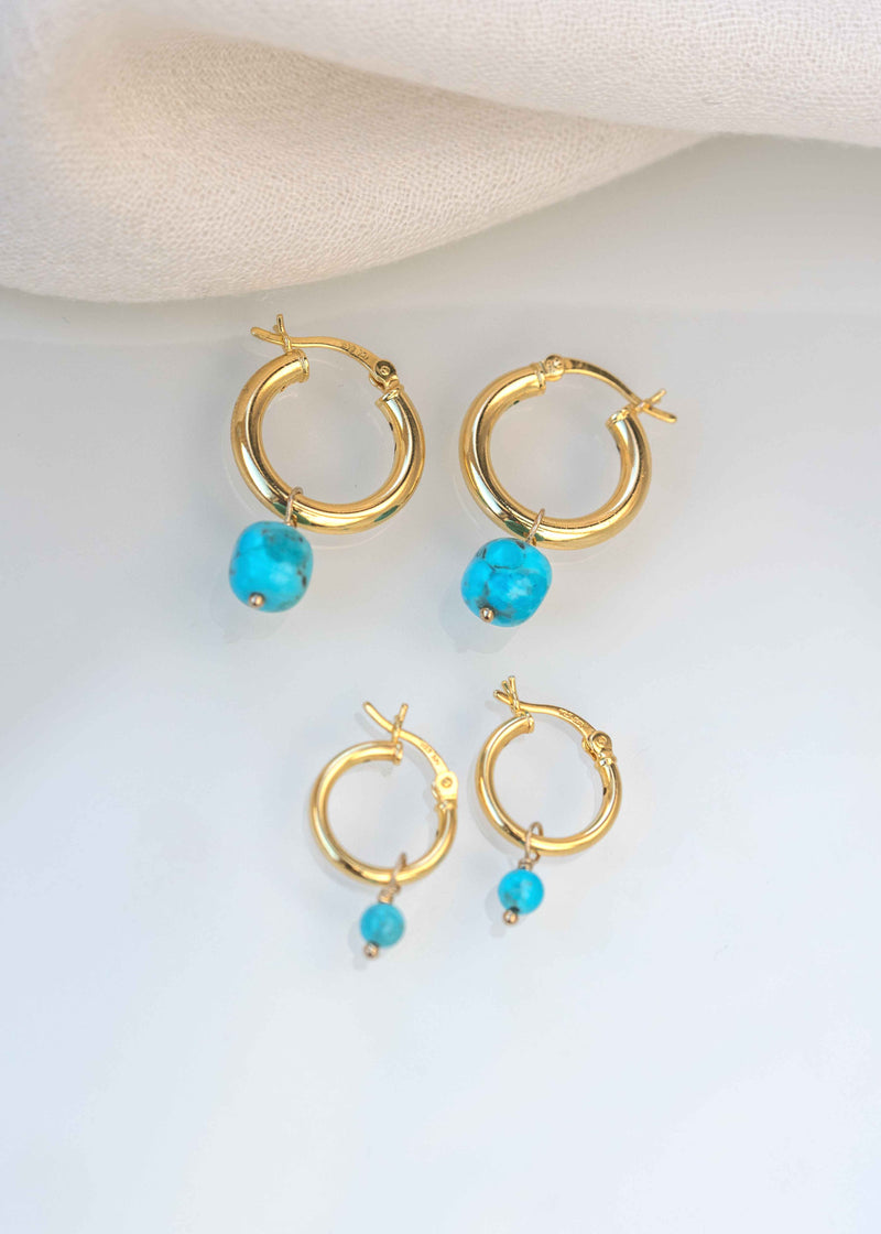 Natural Turquoise Hoops Earrings Set Mother's Day Mother Daughter Jewelry
