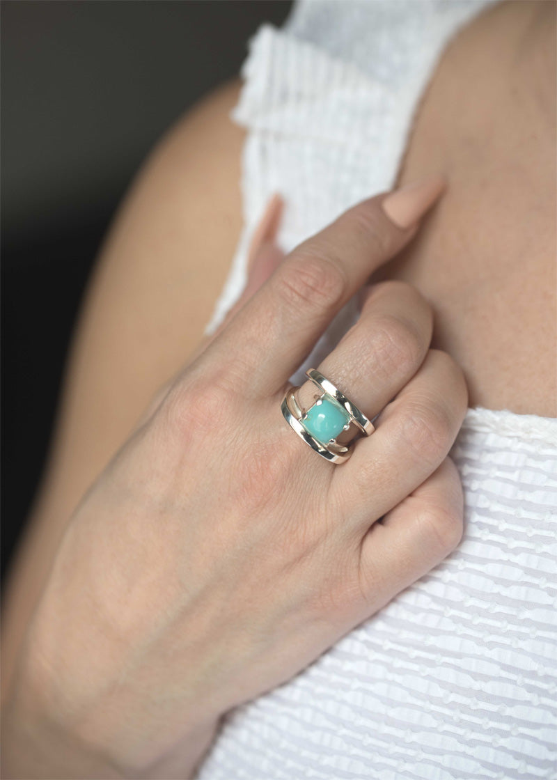 Turquoise Statement Ring Sterling Silver Unique Modern Gemstone Birthstone Rings for Women